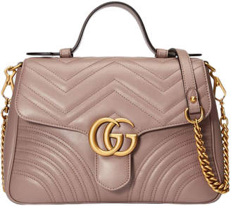 Gucci GG Marmont Top Handle Chevron Small Dusty PInk