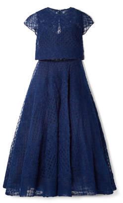 Marchesa Honeycomb Embellished Tulle Midi Dress - Navy