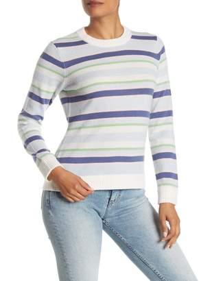 Minnie Rose Colorblock Stripe Cashmere Knit Sweater