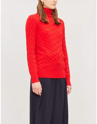 Sportmax Miele asymmetric-hem cable-knit cashmere jumper