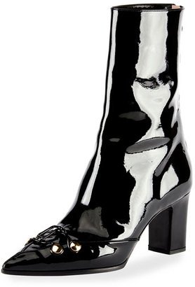 Olivier Theyskens Swanson Patent Hook-and-Eye Boot, Black