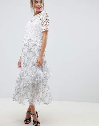 Asos (エイソス) - ASOS DESIGN premium floral lace midi skirt