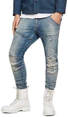 G Star 5620 3D Super Slim Fit Jeans in Light Vintage Aged Destroyed