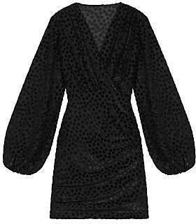 Maje Women's Reine Burnout Polka Dot Mini Dress