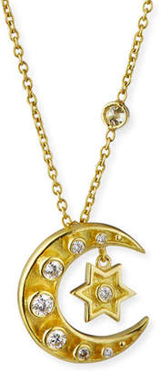 Amrapali Legend 18k Heritage Mini Diamond Star & Crescent Necklace