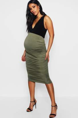 boohoo Maternity Gathered Side Midi Skirt