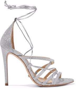 Schutz Tatiana Lace-Up Glittered And Metallic Leather Sandals