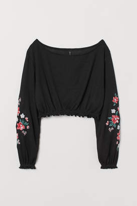 H&M Short Sweater with Embroidery - Black