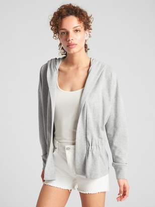 Gap Open-Front Hoodie with Peplum Hem in French Terry