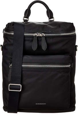 Burberry Zip-Top Leather Trim Waterproof Backpack