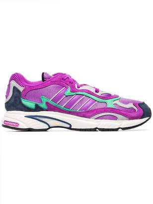 adidas purple Temper Run suede sneakers