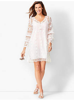 Talbots Bell-Sleeve Embroidered Lace Cover-up