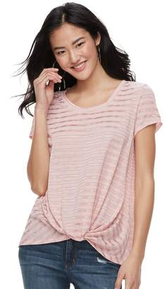 Candies Juniors' Candie's Striped Knot-Front Tee