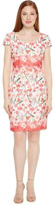 Sangria Floral Printed Sheath with Cap Sleeve Women's Dress