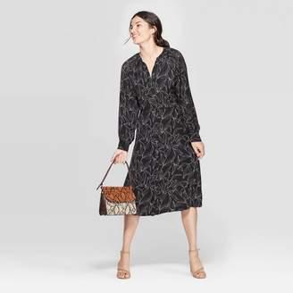 A New Day Women's Leaf Print Long Sleeve Midi Shirtdress Black