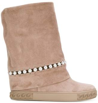 Casadei pearl embellished concealed wedge boots