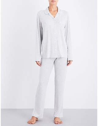 The White Company Contrast-piping jersey pyjama set