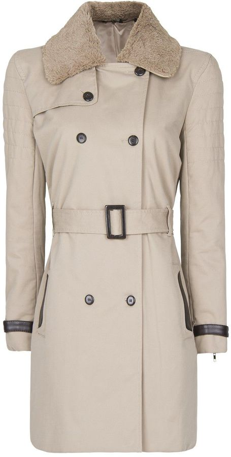 Women's Mango Faux fur collar trench