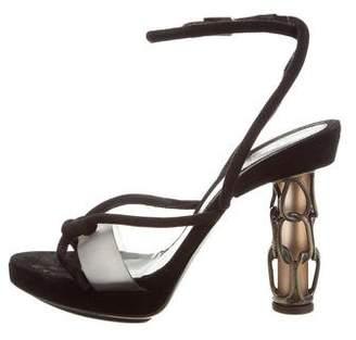 Fendi Suede Chain-Link Sandals