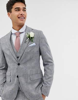 Moss Bros skinny suit jacket with check boucle