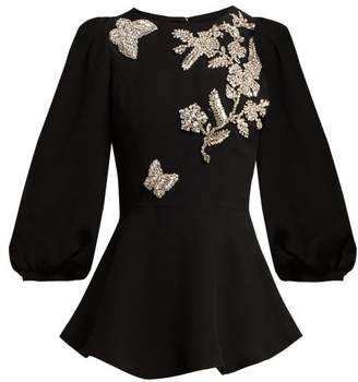 Andrew Gn Crystal Embellished Peplum Top - Womens - Black Silver