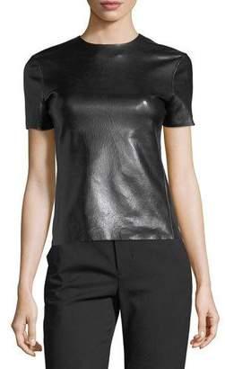 Helmut Lang Crewneck Short-Sleeve Leather T-Shirt