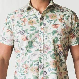 Blade + Blue Cream Multi Colored Floral Print Short Sleeve Shirt - Kyle