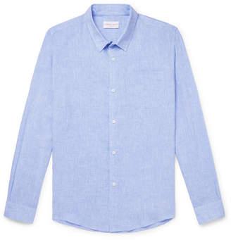 Derek Rose Monaco Slub Linen Shirt - Men - Blue
