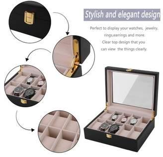 daydayup Watch Box, 10 Grids Wood Watch Display Case Jewelry Storage Holder Box Organizer Gift