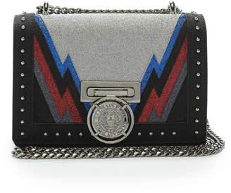 Balmain Studded Glittered Leather Shoulder Bag