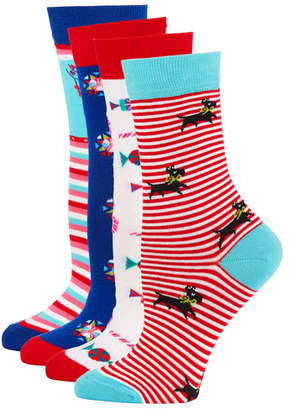 Neiman Marcus 4-Pack Holiday Motif Sock Set