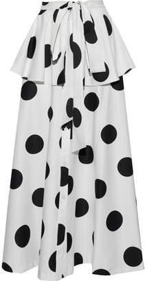 Sachin + Babi Kaylyn Tie-Front Polka-Dot Faille Peplum Maxi Skirt