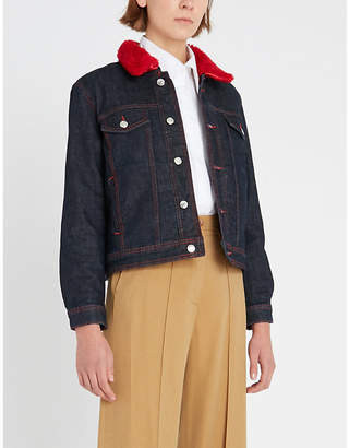 Claudie Pierlot Via shearling-trim denim jacket