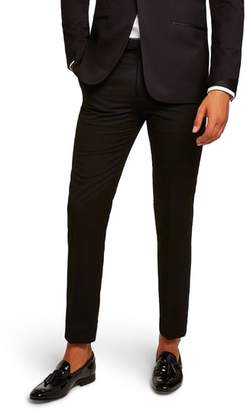 Topman Satin Stripe Skinny Fit Suit Trousers