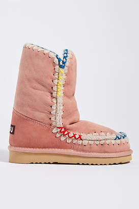 Mou Pink Faux Fur-Lined Boots