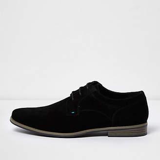 River Island Mens Black suede derby shoes