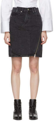 3.1 Phillip Lim Black Denim Asymmetric Zipper Miniskirt