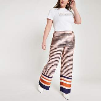 River Island Womens Plus Pink geo print wide leg trousers