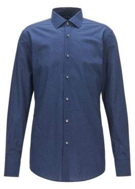 BOSS Hugo Dotted Cotton Dress Shirt, Slim Fit Jenno 17 Dark Blue