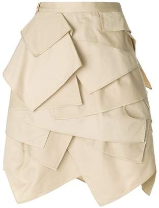 Koché layered fitted skirt