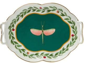 La Doublej - Libellula Brass Rimmed Porcelain Tray - Womens - Green Multi