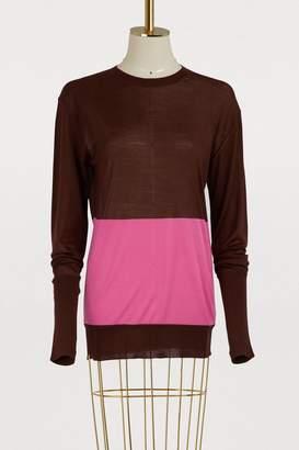 Celine Colorblock silk and cotton crewneck sweater
