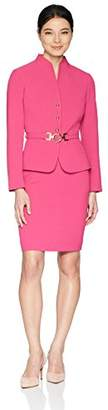 Tahari by Arthur S. Levine Women's Petite Stand Collar 3 Button Belted Jacket Skirt Suit