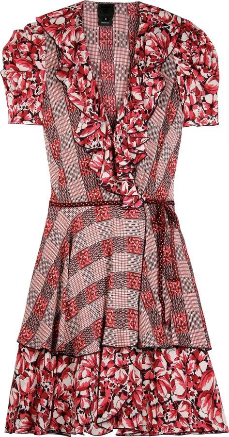 Anna Sui Coral Silk Ruffle Dress