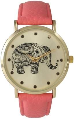 Olivia Pratt Women's Tribal Elephant Leather Watch