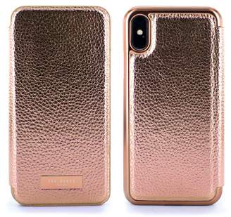 Ted Baker Fenela Faux Leather iPhone X & Xs Mirror Folio Case