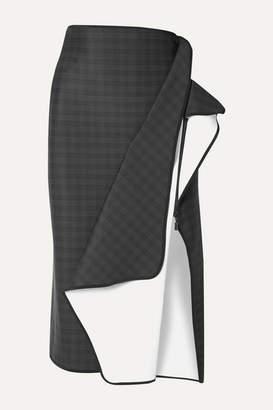 Maticevski Pacific Draped Checked Ponte Midi Skirt - Black