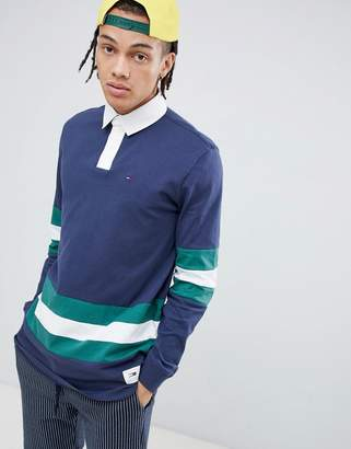 Tommy Jeans Classic body stripe rugby polo long sleeve in navy
