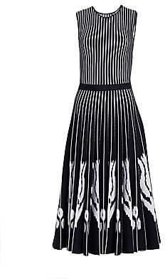 Oscar de la Renta Women's Striped Ikat Pleated Midi Dress