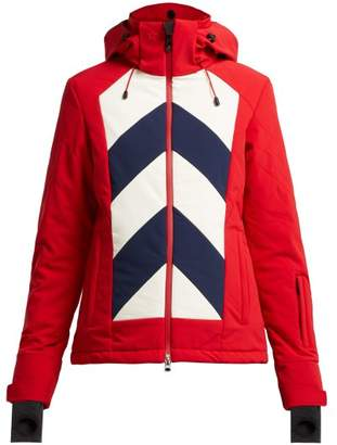 Perfect Moment - Tignes Chevron Striped Quilted Ski Jacket - Womens - Red Multi